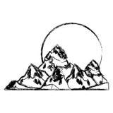 дизайн горы и солнца Стоковая Фотография RF