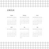 дизайн 2016 календарей в минималистичном стиле Стоковое фото RF