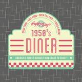 дизайн логотипа стиля обедающего 1950s Стоковая Фотография