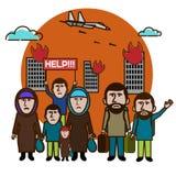 Избежание беженцев от взрыва Помогите нам Международные переселенцы da бесплатная иллюстрация