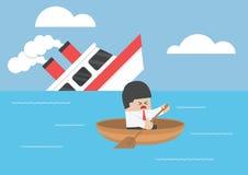 Избежание бизнесмена от кораблекрушения иллюстрация штока