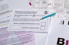 Избирательный бюллетень референдума EC Стоковая Фотография