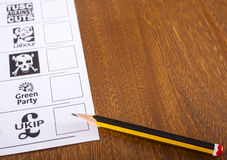 Избирательный бюллетень для великобританских всеобщих выборов Стоковое Фото