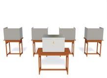Избирательный участок будочки избрания на белой предпосылке с путями клиппирования Стоковые Изображения RF