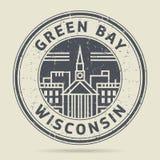 Избитая фраза или ярлык Grunge с Зелёным заливом текста, Висконсином иллюстрация штока