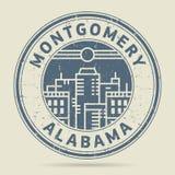 Избитая фраза или ярлык Grunge с текстом Монтгомери, Алабамой иллюстрация вектора