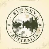 Избитая фраза Grunge с Сиднеем, Австралией иллюстрация штока