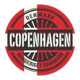 Избитая фраза Grunge с текстом Данией, Копенгагеном иллюстрация вектора