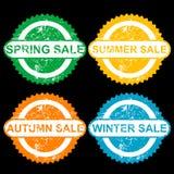 Избитые фразы с продажей весны текста, продажей sumer, продажей осени и Стоковое Фото