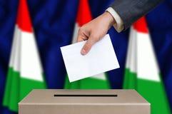 Избрание в Венгрии - голосующ на урне для избирательных бюллетеней стоковые изображения