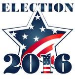 Избрание 2016 с иллюстрацией флага США Стоковые Изображения