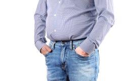 Избыточный вес человека и большой тучный живот Стоковые Изображения