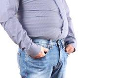 Избыточный вес человека и большой тучный живот Стоковые Фото