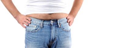 Избыточный вес человека и большой тучный живот Стоковые Изображения RF