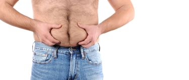 Избыточный вес человека и большой тучный живот Стоковая Фотография