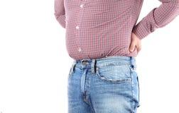 Избыточный вес человека и большой тучный живот Стоковое Изображение