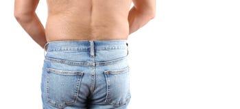 Избыточный вес человека с салом талии Стоковые Изображения