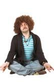 избыточный вес hippie meditating стоковая фотография rf