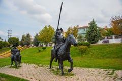 Изваяйте наденьте Quixote и Sancho Panza Парк Selale, Eskisehir, Турция стоковые фото