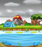 Извергать вулкан и располагаясь лагерем сцену иллюстрация штока