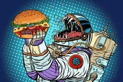 Изверг астронавта ест бургер Жадность и голод conce человечества иллюстрация вектора