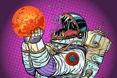 Изверг астронавта ест Марс Жадность и голод концепции человечества бесплатная иллюстрация