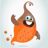 Изверг летания шаржа Vector иллюстрация хеллоуина усмехаясь оранжевый развевать призрака Стоковая Фотография RF