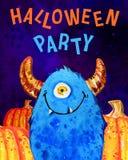 Изверг и тыквы шаржа маленькие одн-наблюданные с ` хеллоуином названия party ` Нарисованная рукой иллюстрация акварели иллюстрация вектора