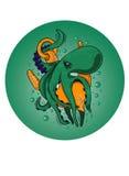 Изверг осьминога обернул анкер корабля под водой Стоковое Изображение