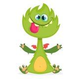 Изверг дракона шаржа с крошечными крылами Меховая иллюстрация вектора зеленого дракона Дизайн хеллоуина иллюстрация штока