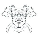 Изверг созданный Виктором Frankenstein halloween счастливый Нарисованная рукой голова Frankenstein Концепция изверга бесплатная иллюстрация