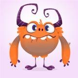 изверг шаржа милый Vector меховой оранжевый характер изверга с крошечными ногами и большими рожками Дизайн хеллоуина иллюстрация вектора