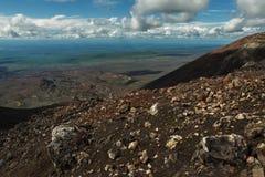 Извержение 1975 борозды Tolbachik северного прорыва большое Стоковое Изображение