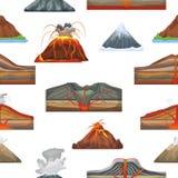 Извержение вектора вулкана и конвульсии вулканизма или взрыва природы вулканические в комплекте иллюстрации гор  Стоковое Изображение