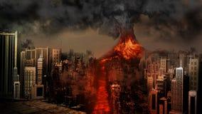 Извержение вулкана около города Стоковая Фотография