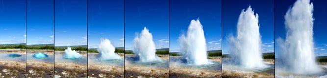 Извержение гейзера Strokkur в последовательности стоковое изображение