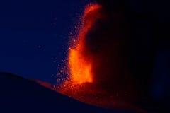 Извержение etna 2013 Стоковая Фотография