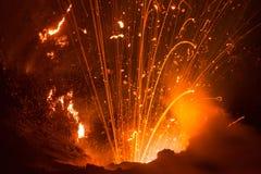 Извержение Yasur вулкана Стоковая Фотография RF