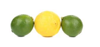 2 известки и один лимон Стоковая Фотография