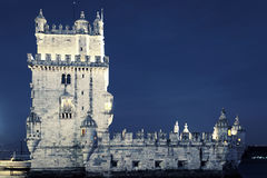 Известная башня Belem к ноча Стоковое Изображение