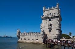 Известная башня belem обороны стоковое фото rf