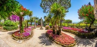 Известная вилла Rufolo садовничает в Ravello на побережье Амальфи, Италии Стоковая Фотография RF