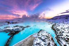 Известная голубая лагуна около Reykjavik, Исландии