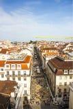 Известная и популярная улица Augusta Rua, городской Лиссабон, Португалия Стоковые Фото