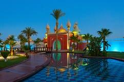 Известная ноча 1001 комплекса покупок и развлечений Alf Leila Wa Leila, взгляд вечера, Sharm El Sheikh, Египет Стоковые Изображения RF