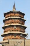 Известная старая китайская архитектура, деревянная пагода в yingxian, Шаньси Стоковые Изображения
