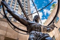 Известная статуя атласа в Нью-Йорке Стоковое Изображение RF