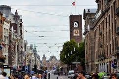 Известная улица в Амстердаме Стоковое Фото