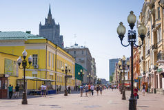 Известная улица Arbat пешехода в Москве, России Стоковые Изображения