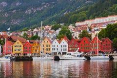 Известная улица Bryggen в Бергене - Норвегии Стоковое Фото